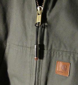 Jacket with bullet zipper charm